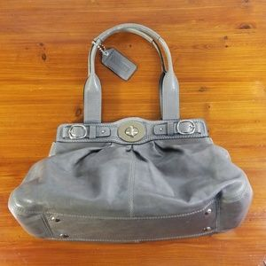 Coach Grey Pleated Leather Satchel Purse